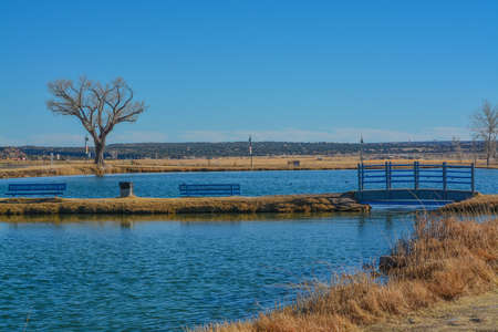 The Santa Rosa Pond is for Minors and Seniors fishing only. Located in Santa Rosa, Guadalupe County, New Mexico 免版税图像