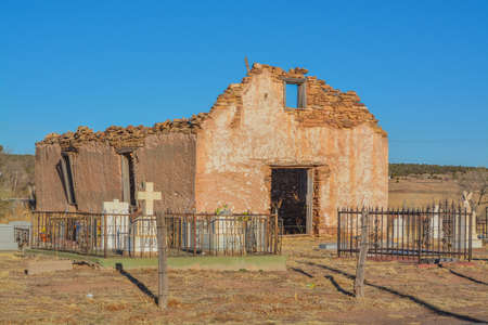Disintegrating Chapel ruins at an old Cemetery in Santa Rosa, Guadalupe County, New Mexico