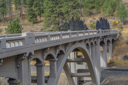 Upper Perry Arch Bridge in the Blue Mountain Foothills of Eastern Oregon. Perry, Oregon