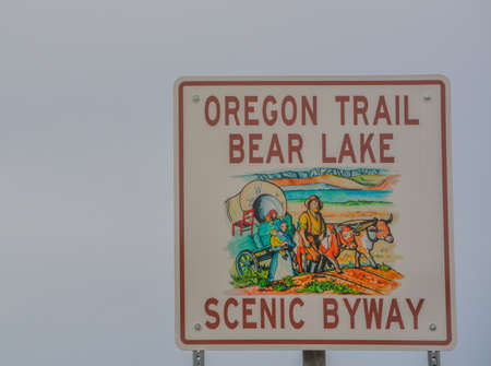 The Sign for Oregon Trail Bear Lake, Scenic Byway in Henefer, Utah