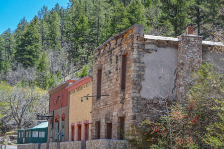 The Main street of Mogollon Ghost Town. This Historic District was the wildest mining town. Mogollon, Catron County, New Mexico Banque d'images