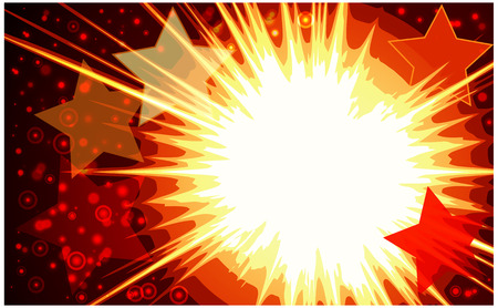 Explosion background with many stars.  illustration.