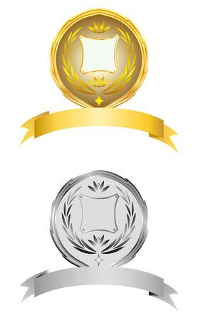 silver medal: The element of a design.   illustration.