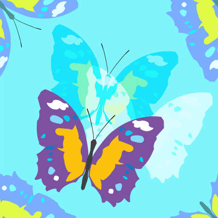 Colorful seamless background with butterflies. illustration.