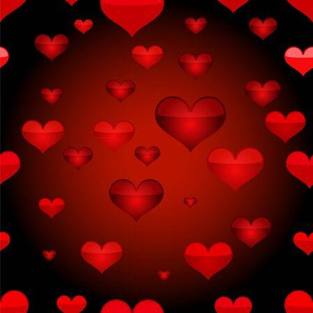 Red heart seamless pattern. Vector illustration.