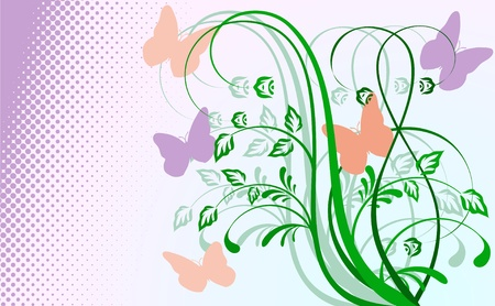 Abstract floral background with butterflies Illustration