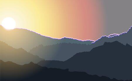mountain landscape, sunrise Illustration