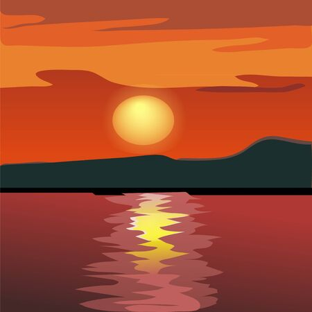 Sunset and mountain silhouette from the sea Stock Vector - 9134439