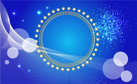 luminescence: Abstract  background   with banner and stars.