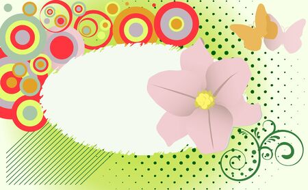 Abstract grunge flower theme with  butterflies. Element for design, illustration.