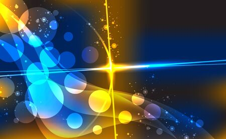 Abstract background with blurred neon light dots. illustration.