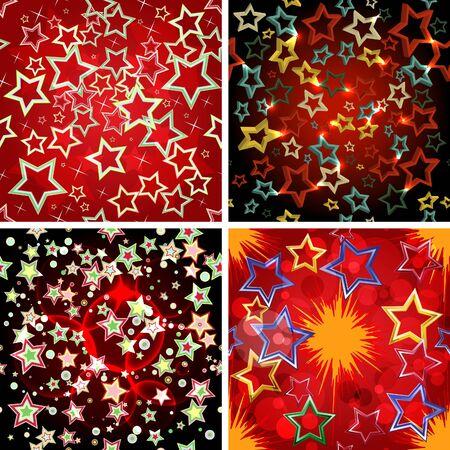 Set of 4 seamless stars patterns.  Vector illustration.