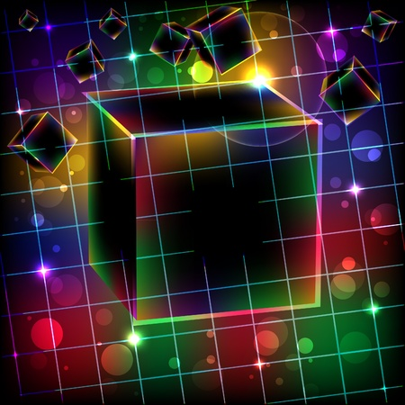 tecnology: Abstract cube art vector background. Vector illustration. Illustration