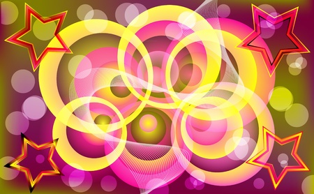 Abstract colorful circle & star design. Vector illustration.  Stock Vector - 9932324
