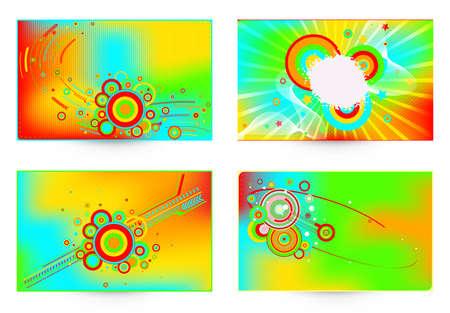 Vector four business card set, elements for design.