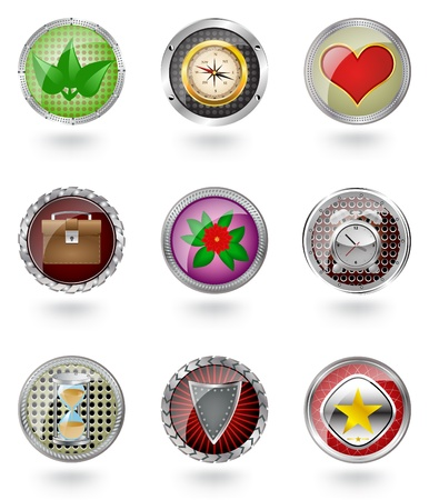 Vector glossy  button icon set.  Vector