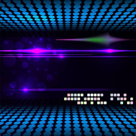 Blurry glowing neon circle light effect background. Vector illustration. Vectores