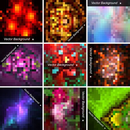 Set of abstract vector mosaic   backgrounds with space for Your text. Illustration