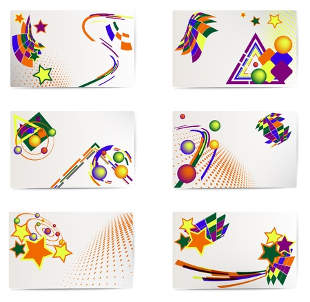 Vector set of six business card; elements for design.