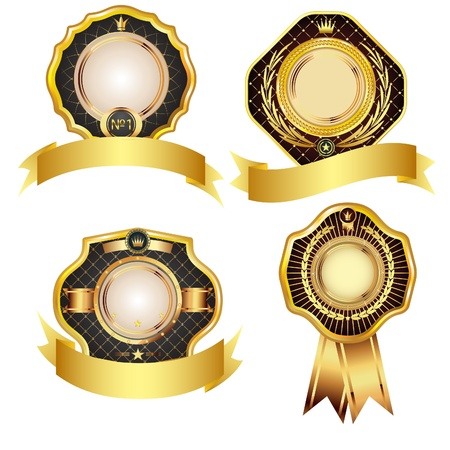 Set of golden vector design elements.