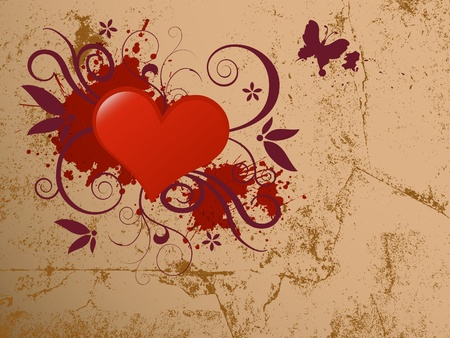 Abstract glossy heart with grunge vector illustration. Illustration