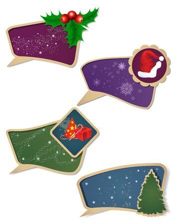 Set of vector Christmas gift  tag. Vector