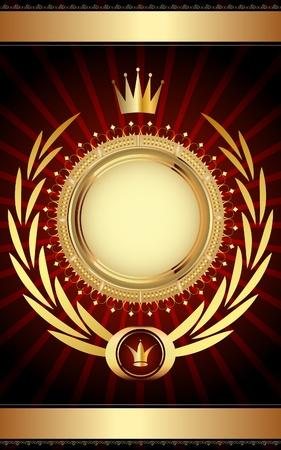 medal: Golden vintage template for your text.  Illustration