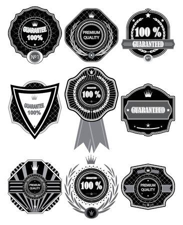 Vector  Premium Quality Labels with retro design. Illustration