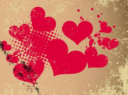 Abstract heart with grunge vector illustration. Vector