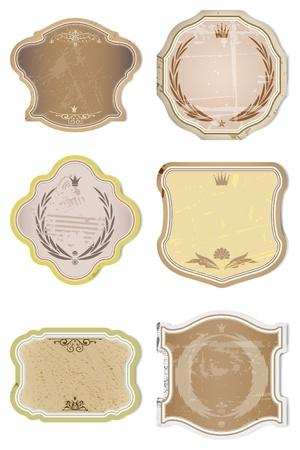 Vintage Vector  Labels Collection - 6 design elements with original antique style . Vectores