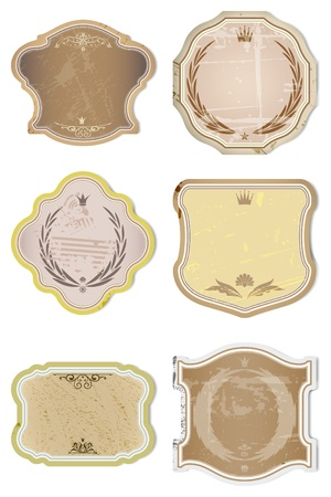 Vintage Vector  Labels Collection - 6 design elements with original antique style . Illustration