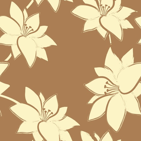 Vector floral seamless  pattern  with grunge style . Illustration