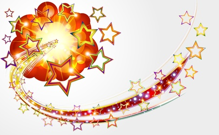 Bright abstract background with explosion stars  Vector illustration