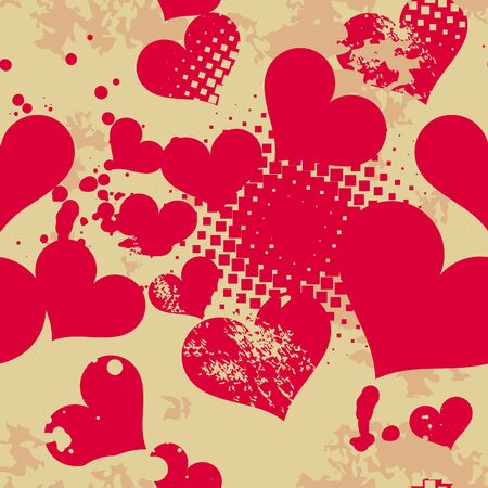Grunge seamless pattern with hearts   Vector