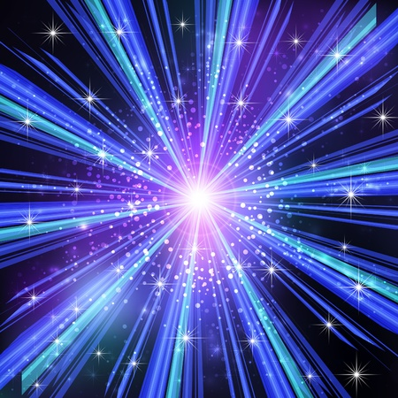 Blue Light rays with stars   illustration  Vector
