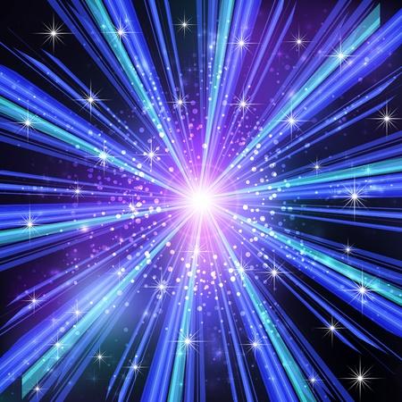 Blue Light rays with stars   illustration