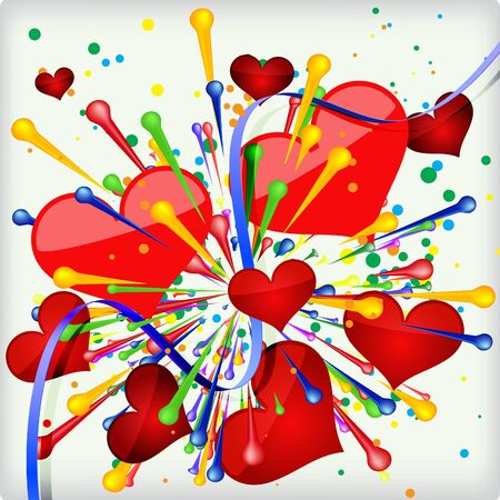 Abstract holiday background of explosion heart   Illustration