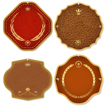 Set of leather   gold premium quality labels and emblems  Vector