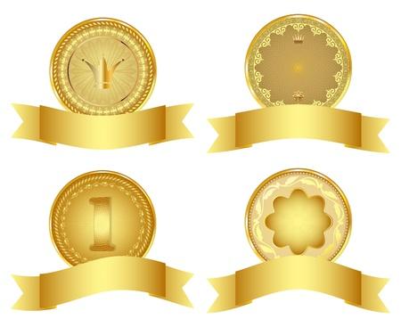 Set of golden vector design elements