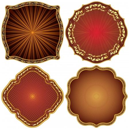 Ornate decorative golden frames  Illustration