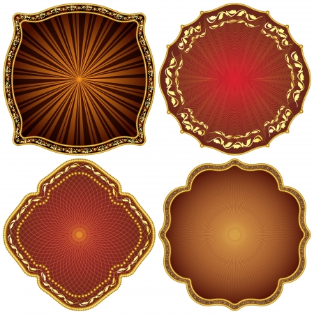 golden frames: Ornate decorative golden frames  Illustration
