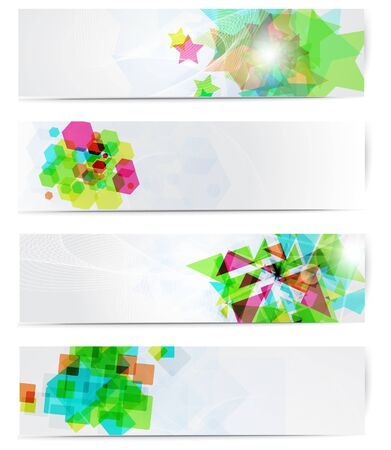 Abstract modern website banner set  design