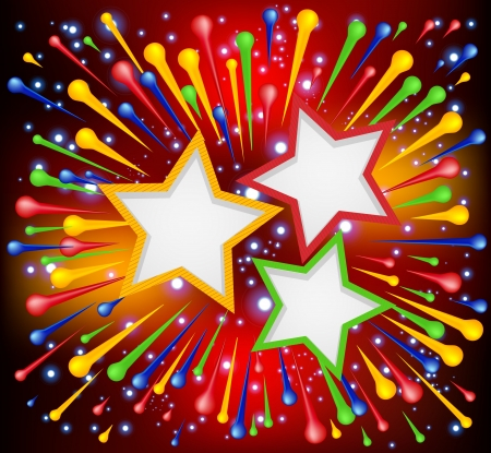 Brightly   explosion paint background with stars  Vector illustration