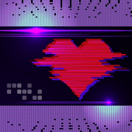Abstract heart monitor on a dark background  Vector