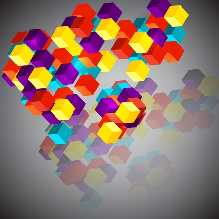 Abstract  vector background with 3d cubes  Stock Vector - 16048632
