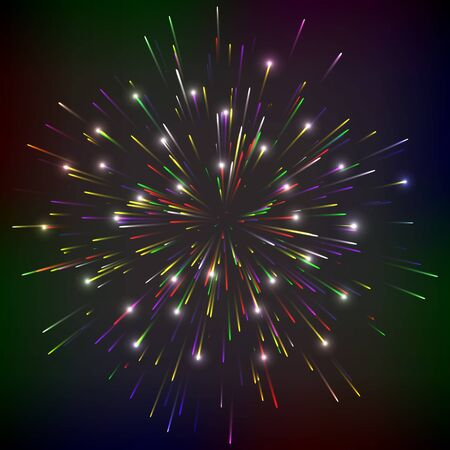 Bright abstract festive fireworks over black background  Vector illustration  Vector