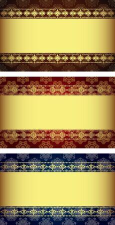 Vector set of vintage gold-framed labels  Vector