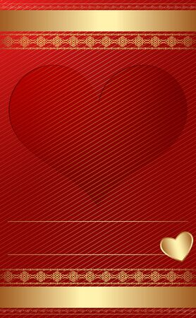 Golden vintage template with heart  Illustration