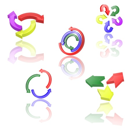circling: Set of icons or abstract designs - 3d arrows circling  Illustration