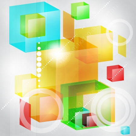Abstract vector background of 3d cubes  Stock Vector - 16662626